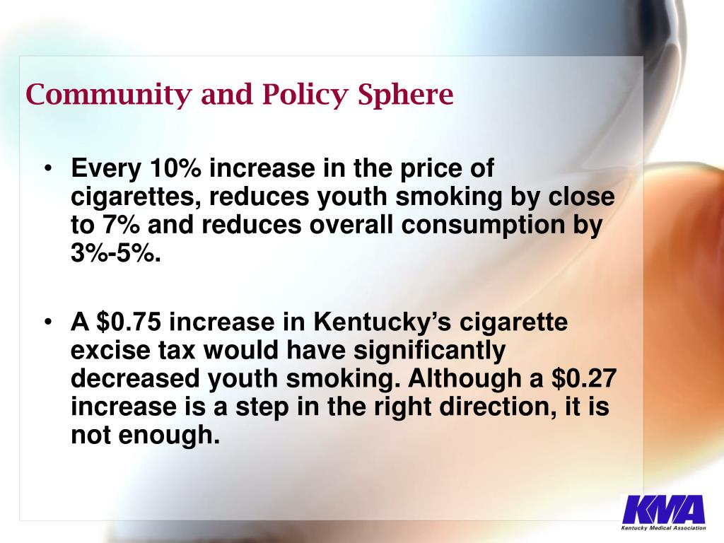 Every 10% increase in the price of cigarettes, reduces youth smoking by close to 7% and reduces overall consumption by 3%-5%.
