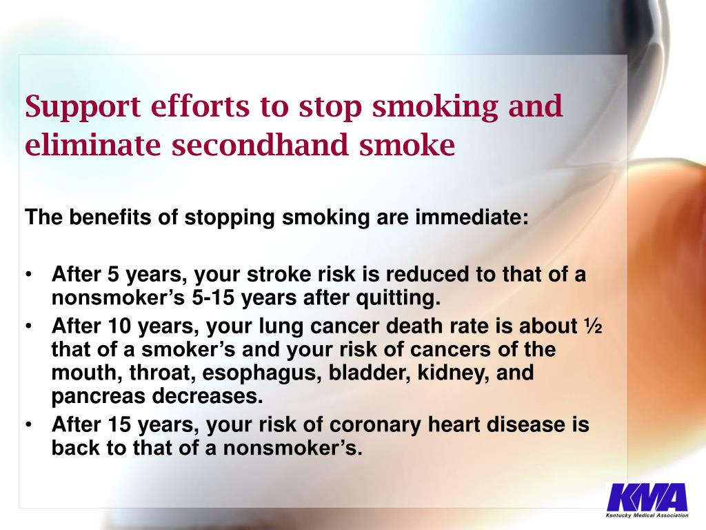 Support efforts to stop smoking and