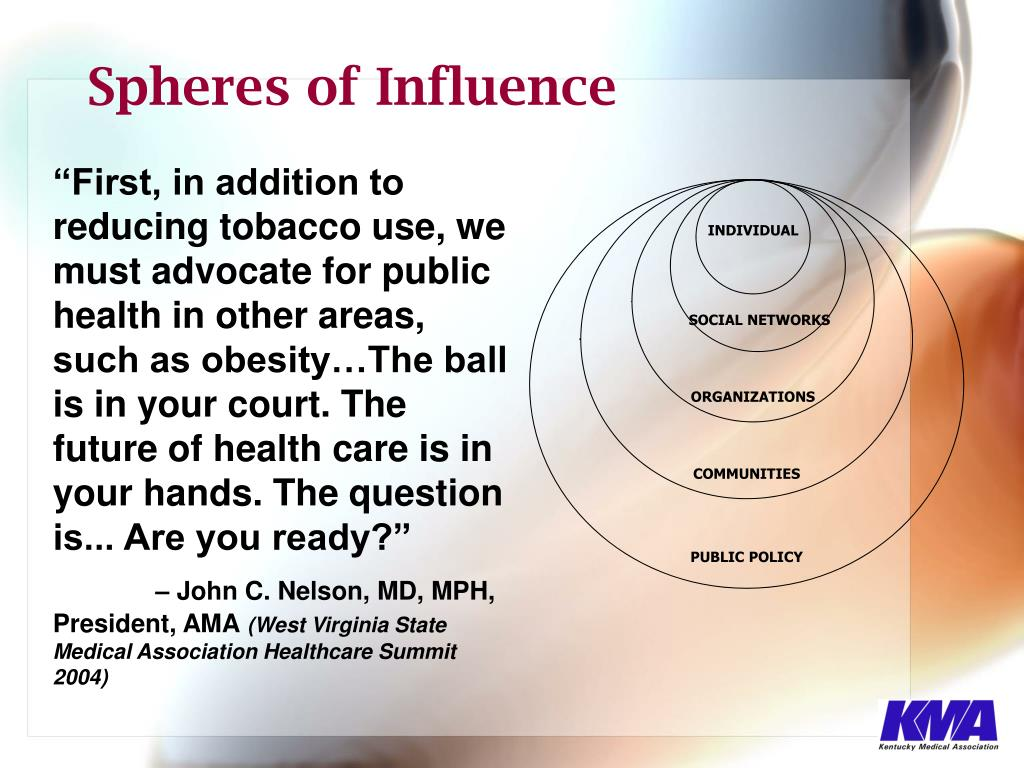 """First, in addition to reducing tobacco use, we must advocate for public health in other areas, such as obesity…The ball is in your court. The future of health care is in your hands. The question is... Are you ready?"""