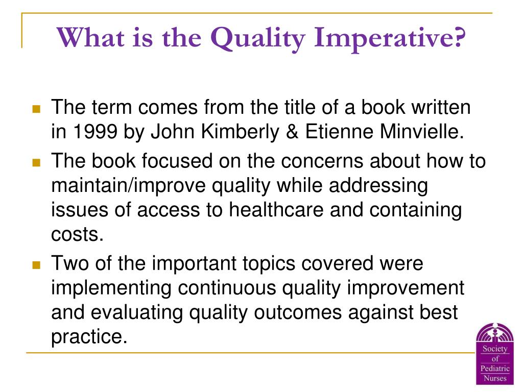 What is the Quality Imperative?