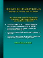 science education goals supported by the new state framework