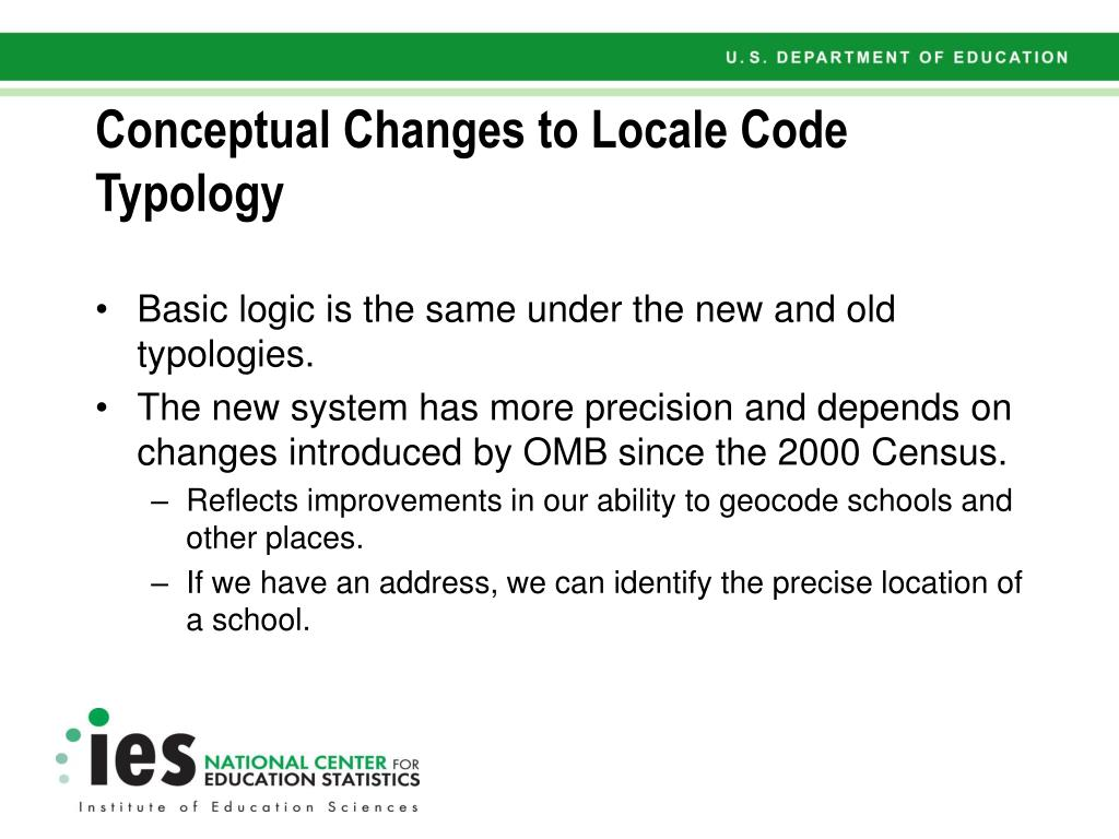 Conceptual Changes to Locale Code Typology