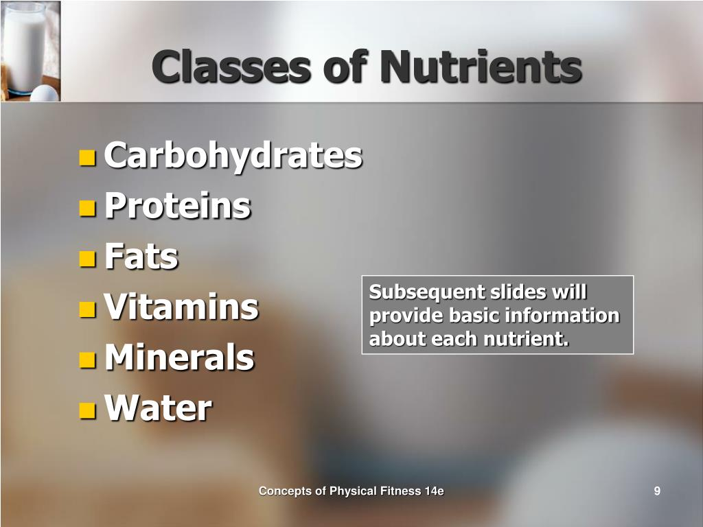 Classes of Nutrients