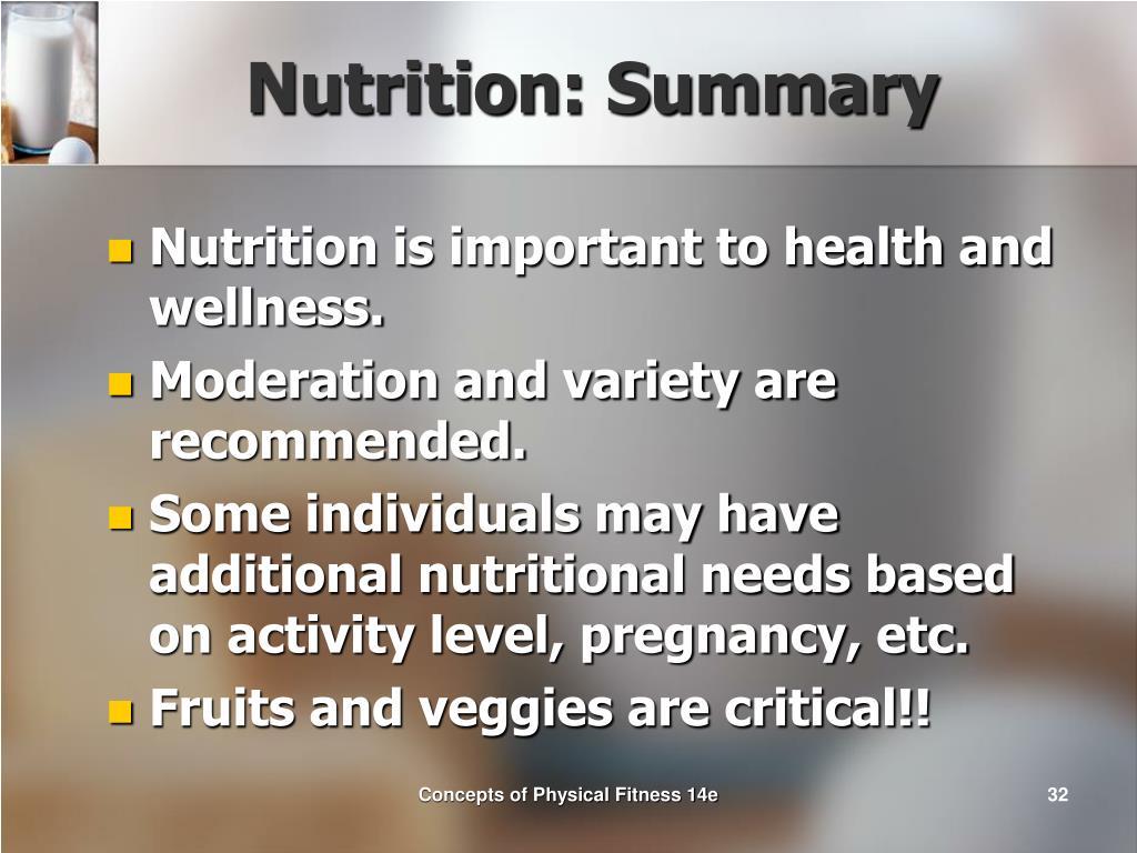 Nutrition: Summary