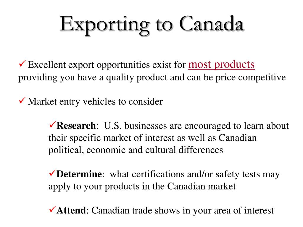 Exporting to Canada