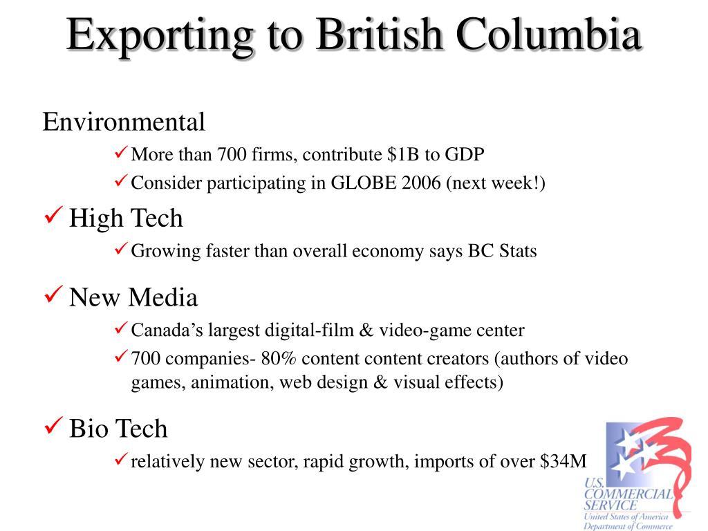Exporting to British Columbia