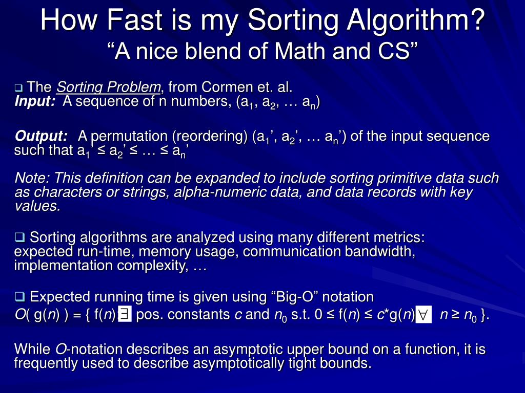 How Fast is my Sorting Algorithm?