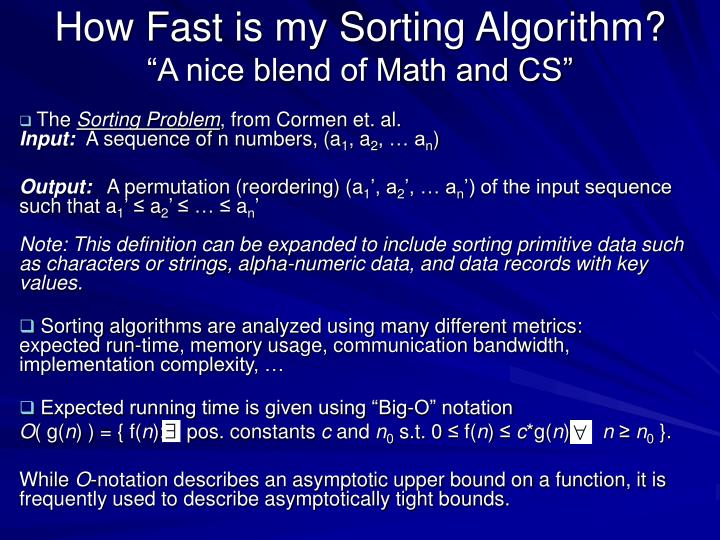 How fast is my sorting algorithm a nice blend of math and cs
