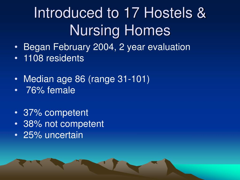 Introduced to 17 Hostels & Nursing Homes