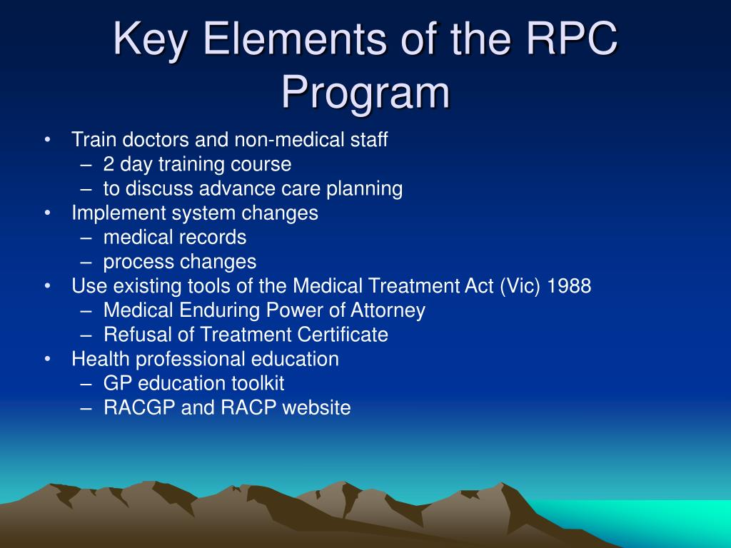 Key Elements of the RPC Program