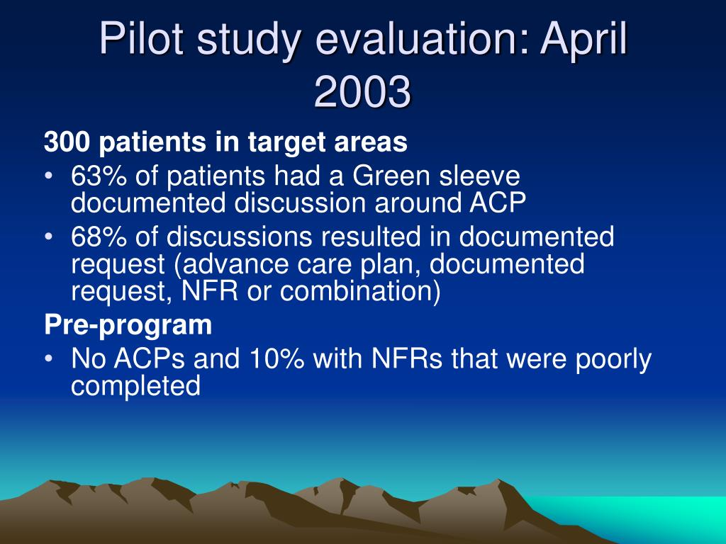 Pilot study evaluation: April 2003