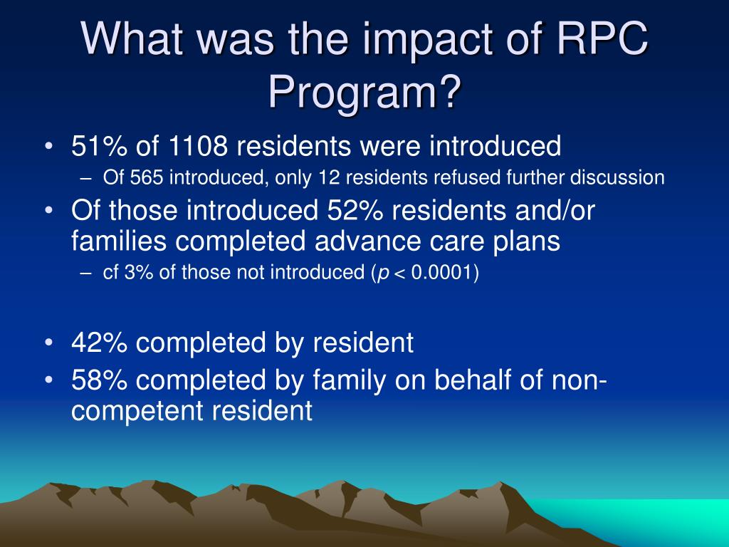 What was the impact of RPC Program?