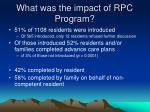 what was the impact of rpc program