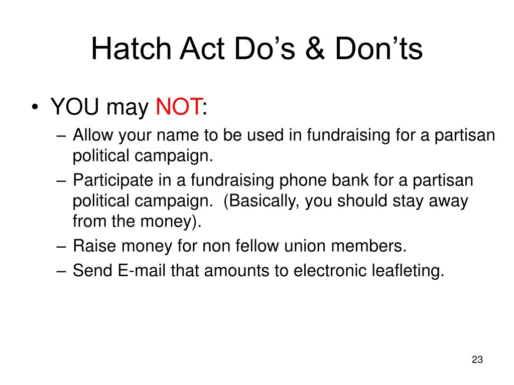 Hatch Act Do's & Don'ts