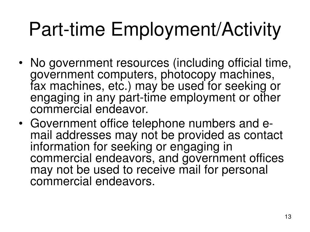 Part-time Employment/Activity