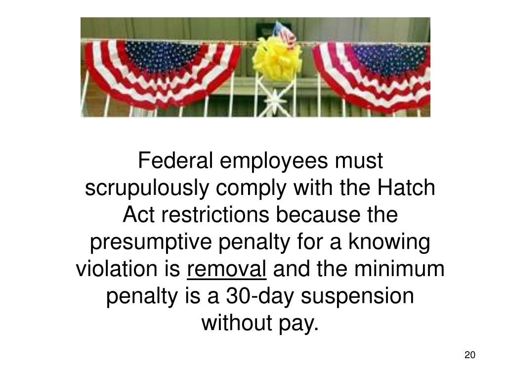 Federal employees must scrupulously comply with the Hatch Act restrictions because the presumptive penalty for a knowing violation is