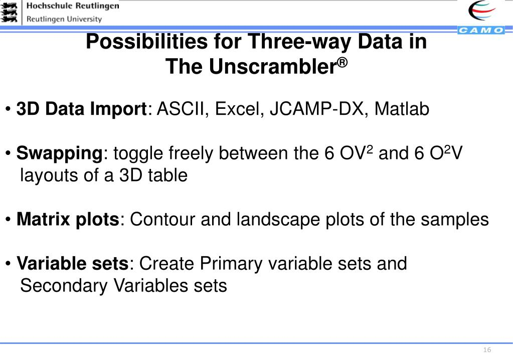 Possibilities for Three-way Data in