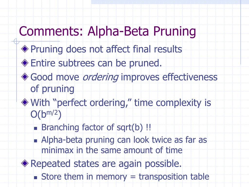 Comments: Alpha-Beta Pruning