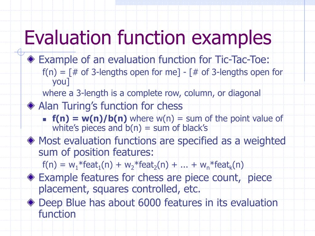 Evaluation function examples