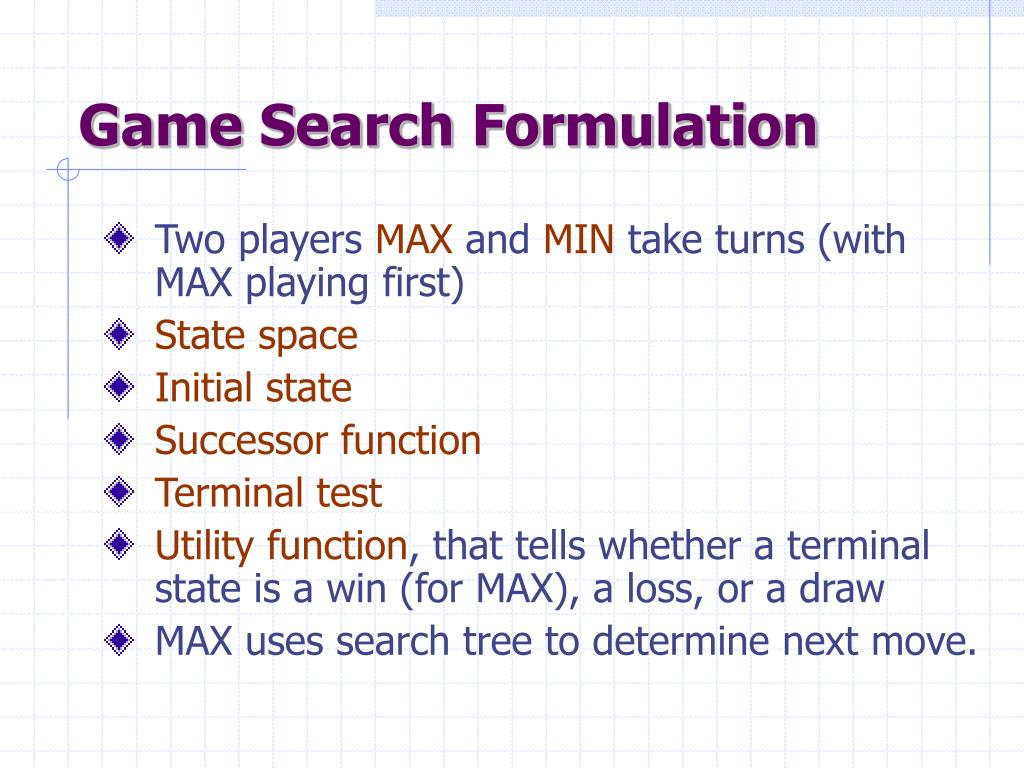 Game Search Formulation