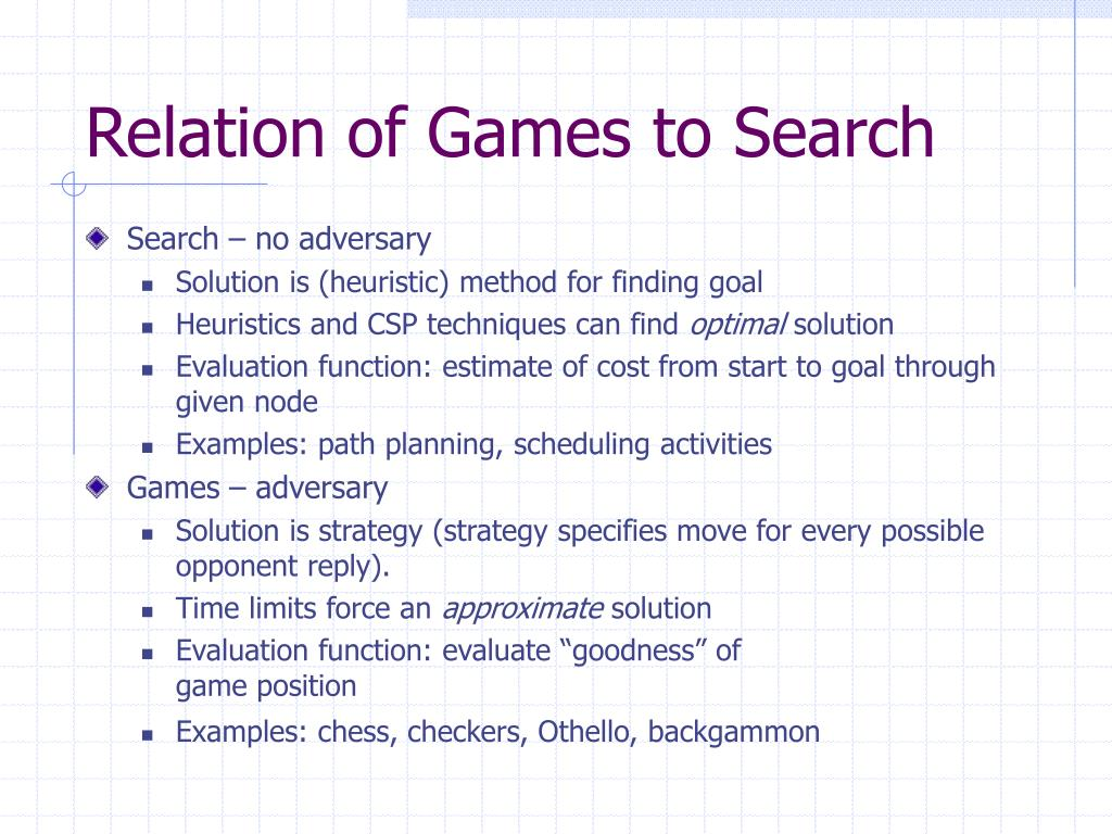 Relation of Games to Search