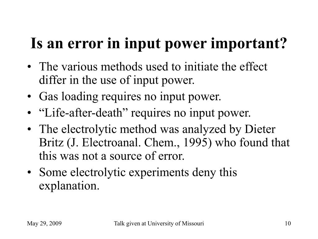 Is an error in input power important?