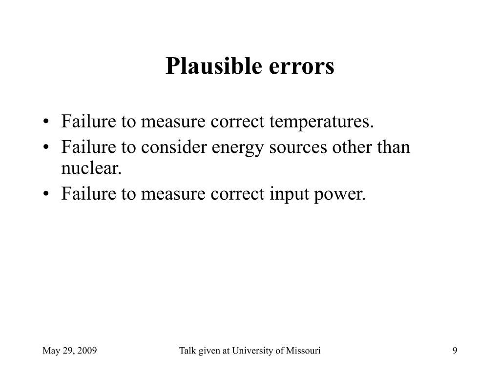 Plausible errors