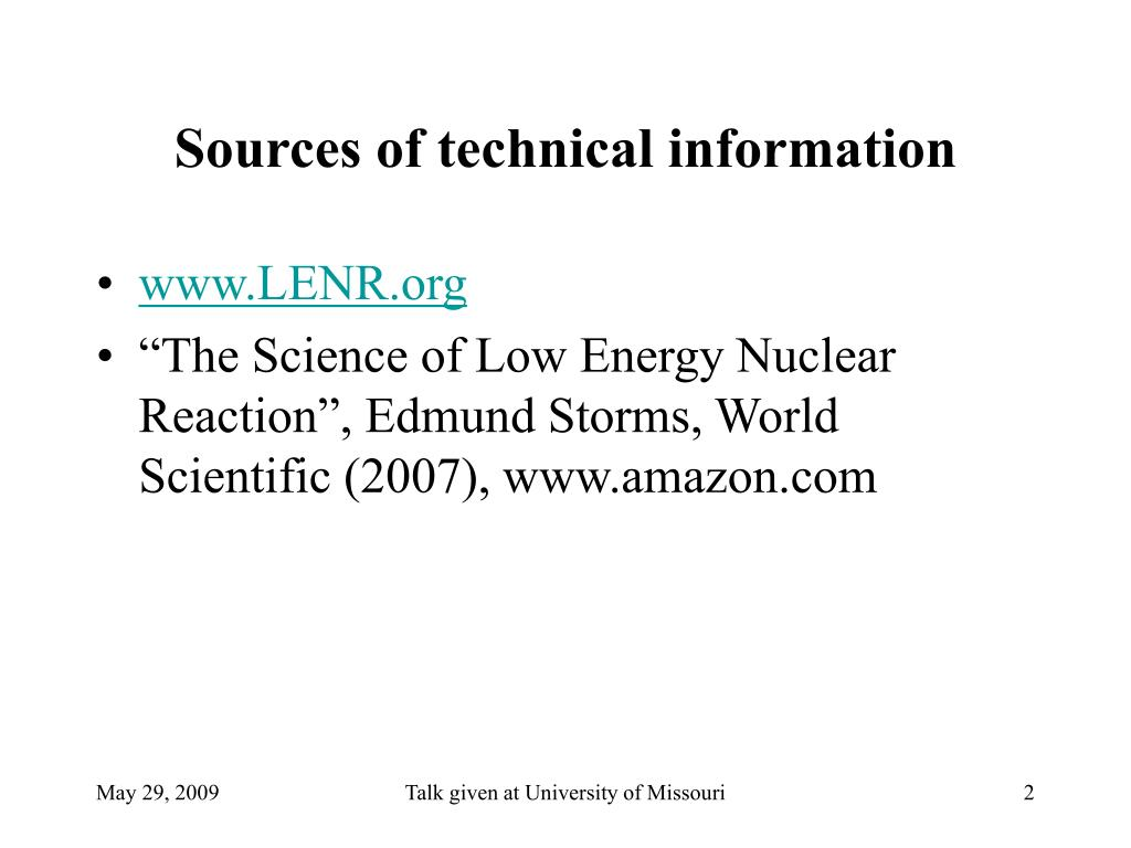 Sources of technical information