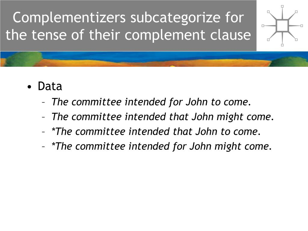 Complementizers subcategorize for the tense of their complement clause