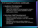 4 h council functions continued