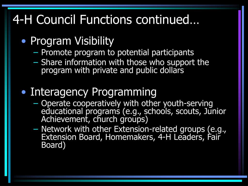 4-H Council Functions continued…