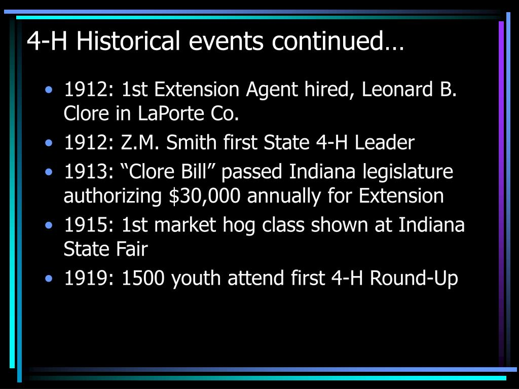 4-H Historical events continued…