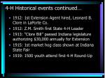 4 h historical events continued