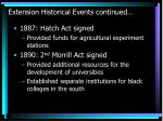 extension historical events continued