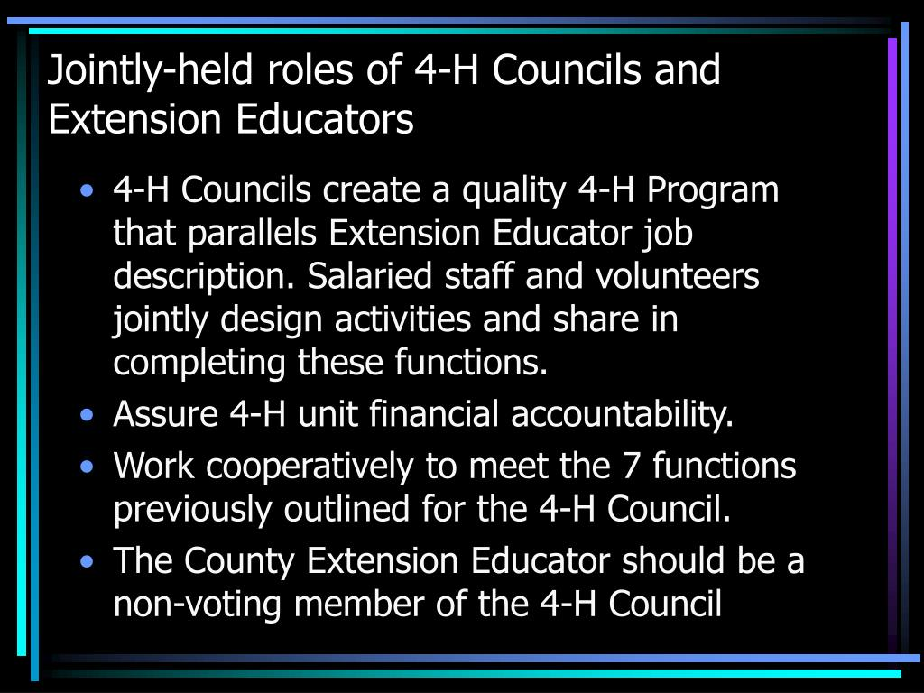 Jointly-held roles of 4-H Councils and Extension Educators