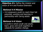 objective 1 define the mission and vision of 4 h and purdue extension