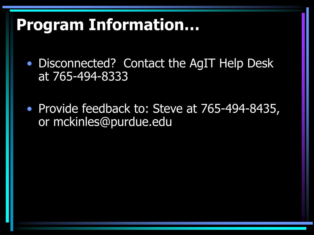 Program Information…
