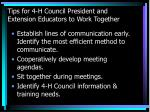 tips for 4 h council president and extension educators to work together