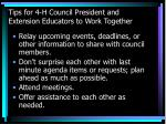 tips for 4 h council president and extension educators to work together50