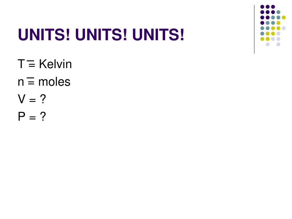 UNITS! UNITS! UNITS!