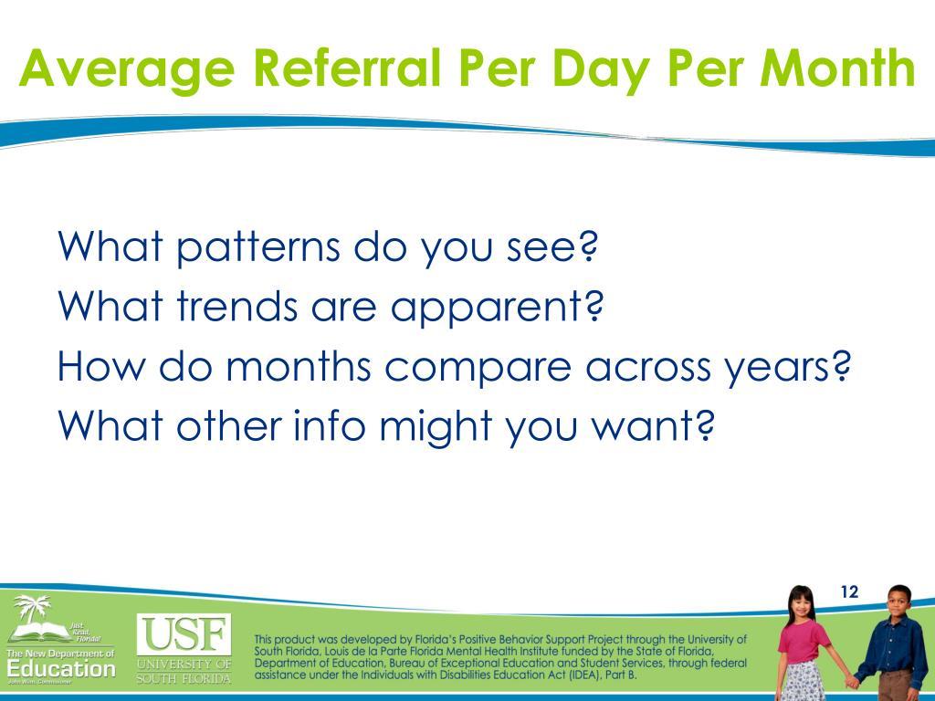 Average Referral Per Day Per Month