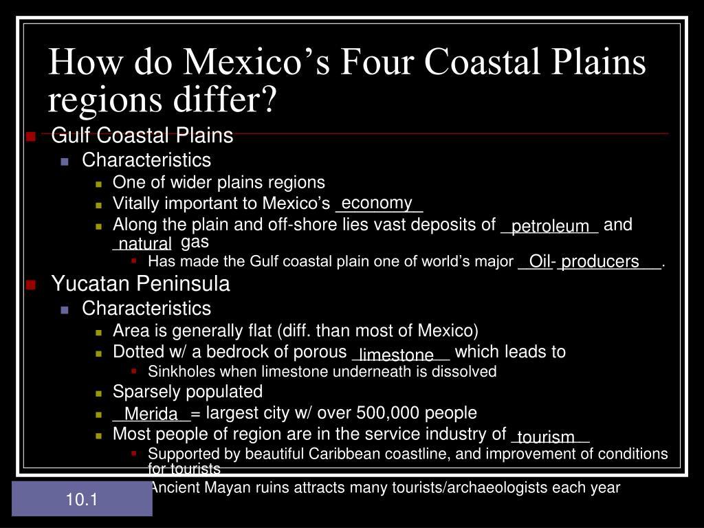 How do Mexico's Four Coastal Plains regions differ?