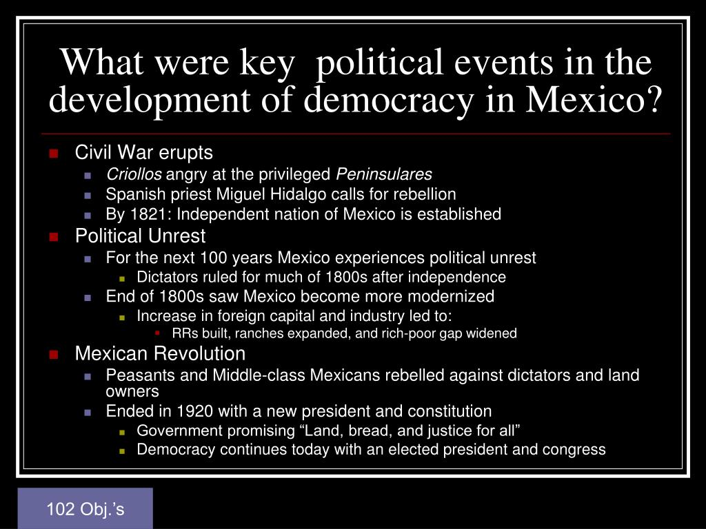 What were key  political events in the development of democracy in Mexico?
