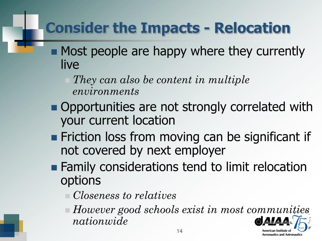 Consider the Impacts - Relocation