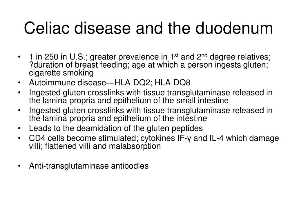 Celiac disease and the duodenum