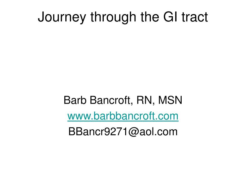 Journey through the GI tract