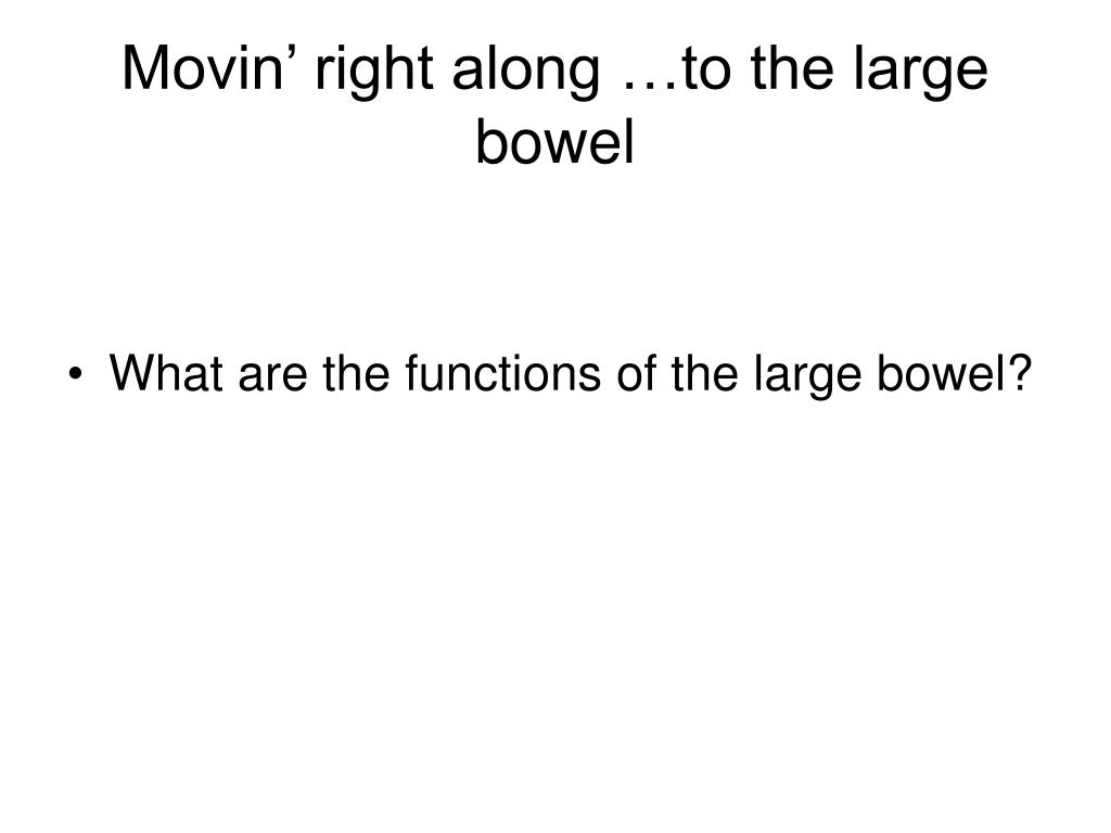 Movin' right along …to the large bowel