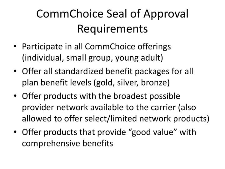 Commchoice seal of approval requirements