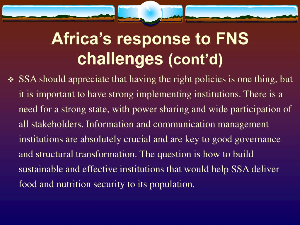 Africa's response to FNS challenges