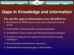 gaps in knowledge and information